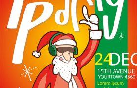 两款圣诞老人鹿派对海报 促销海报 嘻哈 打碟